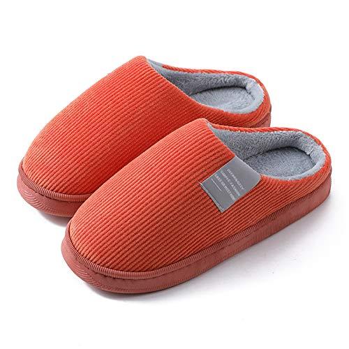 KKLT Zapatillas de algodón para hombre y mujer, para el hogar, otoño e invierno, para interiores, para parejas, suela de goma antideslizante para exteriores (38-39, naranja)