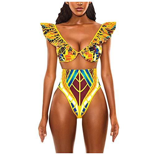 Aiserkly Zweiteilige Badeanzug 2020 Sommer Bademode Bikini-Sets Damen Retro Print Bikini Set Badebekleidung Push-Up gepolsterte BH Badeanzug Beachwear Schwimmanzug Gelb L