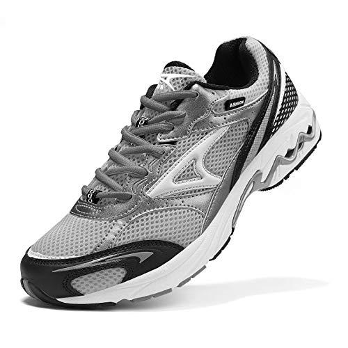 ASHION Herren Schuhe Sneakers Sportschuhe Outdoorschuhe Laufschuhe Joggingschuhe Turnschuhe Walkingschuhe Atmungsaktiv Antischock Komfort rutschfest Grau 42 EU