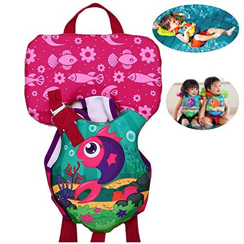 FXQ Baby-Schwimmweste 1-3 Jahre, Schwimmweste mit Kissen für Kinder Schwimmtraining Jacke Kleinkind Schwimmen Lernen für Mädchen und Jungen, 8-25 kg,Redsquid