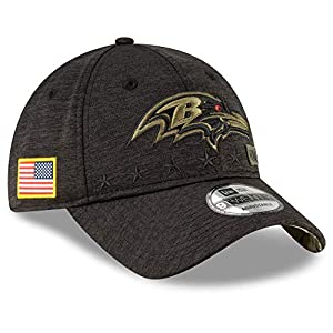 New Era Youth Heather Black NFL 2020 Salute to Service 9Twenty Adjustable Dat Hat Cap (Baltimore Ravens)