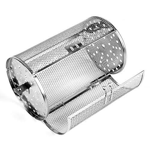 QOTSTEOS - Parrilla de asador de acero inoxidable, cesta de horno para jaulas de horno de calefacción rotativa de 360 grados, tambor de asador para barbacoa de granos de café con cacahuetes secos