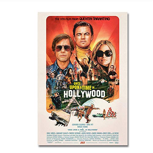 Nuevo póster de película Érase una vez en Hollywood Retro Art Prints Vintage Wall Decor Pictures Tarantino Posters Print on canvas-50x75cm Sin marco
