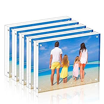 Meetu Acrylic Picture Frame 5x7,Clear Freestanding Double Sided 20mm Thickness Frameless Magnetic Photo Frames Desktop Display with Gift Box Package 5 Pack