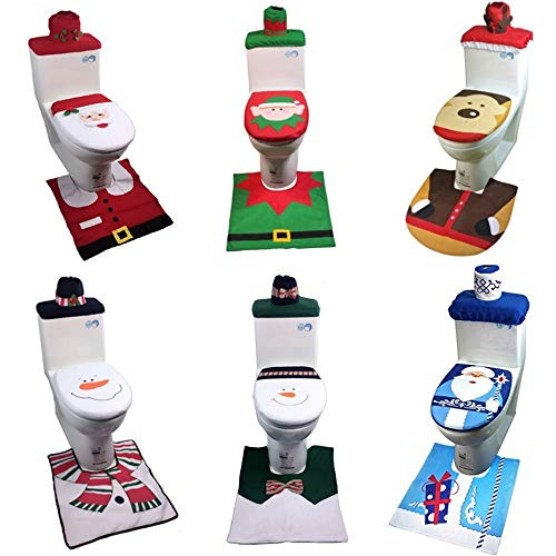 WOOTZ toiletbril 2 set 6 stks voet pad pet case kerst badkamer decoratie dier ontwerp hoezen matten badmat tapijt huishouding pads