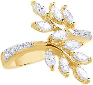 Jewel Zone US White Cubic Zirconia Leaf Design Bypass Ring in 14k Gold Over Sterling Silver