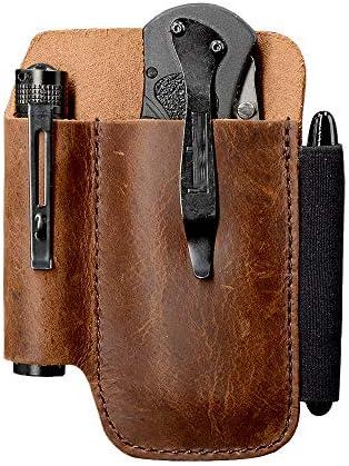 EDC Leather Belt Knife Sheath Organizer for 4 5 Knife Fit 0 6 Diameter Tactical Flashlight Belt product image