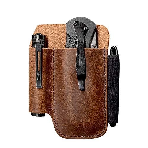EDC Leather Belt Knife Sheath Organizer for 4.5' Knife, Fit 0.6' Diameter Tactical Flashlight, Belt Tool Pouch, Pocket Slip Pouch, Pen Loop, EDC Holster Essential Carrier, Premium Leather. Chestnut.