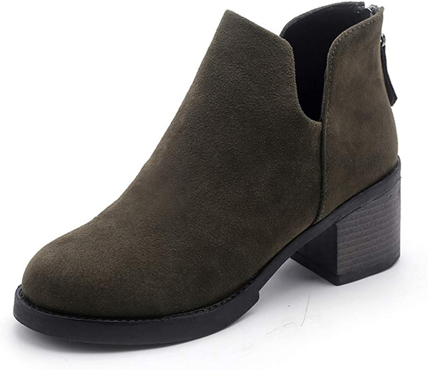 Women's Closed Toe Bootie - Middle Heel Casual Comfortable Walking Boot