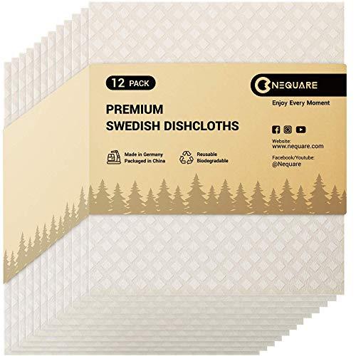 NEQUARE Swedish Dishcloths for Kitchen Sponge Cloths Kitchen Towels12 Pack Swedish Dish Cloths Reusable Premium Material for Dish Cleaning White