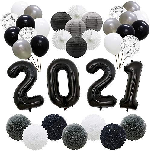 Black 2021 Graduation Balloons Decorations, New Year's Eve Party Supplies, Latex Balloons, Hanging Tissue Paper Fans, Paper Lanterns, Pom Poms Flowers for Prom Anniversary Back to School Decor