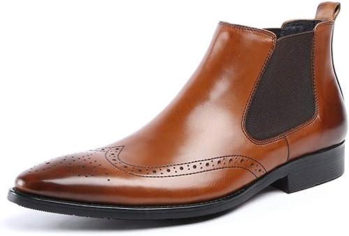 hombres Botines Chelsea botas de Cuero negro marrón Zapaños de Cuero para Inteligente Formal Casual Negocios Boda Talla 38-44