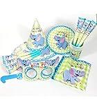 Theme & Deco Kit Anniversaire éléphant Assiettes jetable 36pcs - Jaune