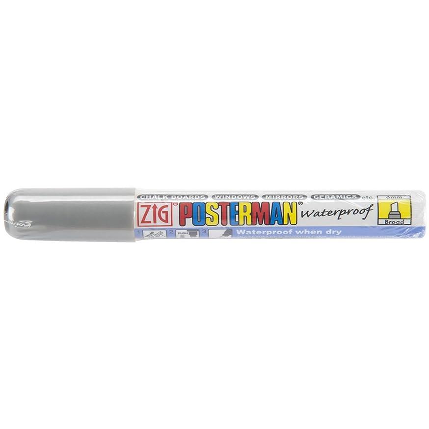 Zig 6mm Posterman Broad Chisel Tip Marker, Silver