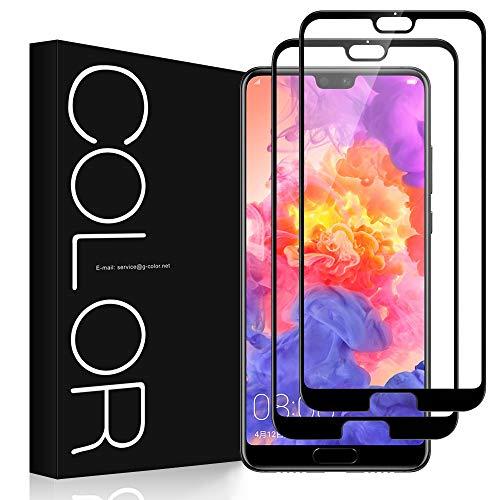 Huawei P20 Pro フィルム[2枚], G-Color Huawei P20 Pro ガラスフィルム 強化ガラス 2.5Dラウンドエッジ加...