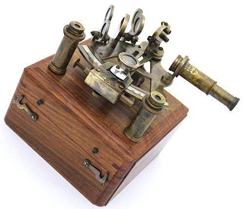 duits messing sextant met doos en twee lenzen - werken sexant door casanova nauticals