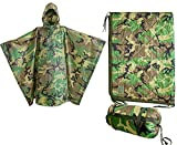 USGI Industries Military Spec Poncho Emergency Tent Shelter Multi Use Rip Stop Camo Survival Rain Poncho (2-Pack Woodland Gear)