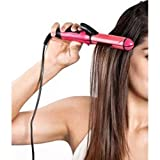 MAXELNOVA 2 in 1 Hair Straightener and Curler with Ceramic Plate (Pink)