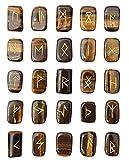 FASHIONZAADI Natural Tiger Eye Runes Stones Set with Futhark Runic Alphabet Rectangle Shape Stone Rune Words for Crystal Reiki Healing Meditation Fortune Telling Spiritual Gift Set Size 15-20mm