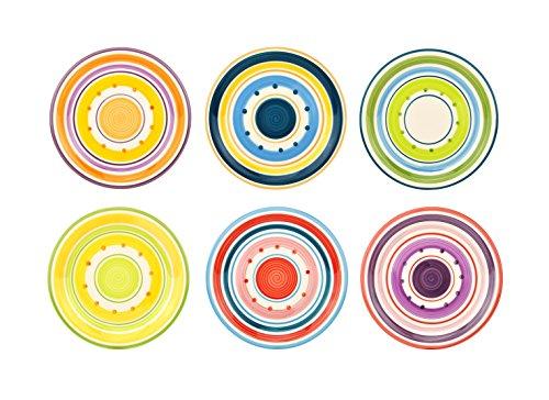 Unitable 6er Set Dessertteller Cefalu im farbenfrohen Mediterranen-Stil - Rose&Tulipani