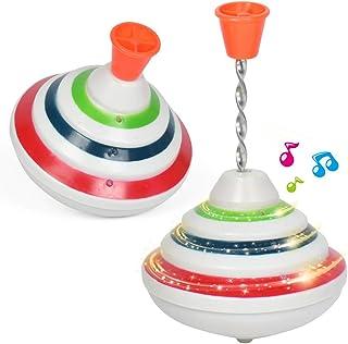 colour change pocket money micro retro LED mini Light Up Spinning Top pa