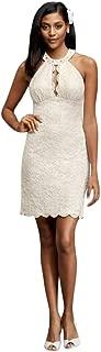 Short Halter Wedding Dress with Keyhole Cutout Style 21395D
