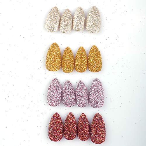 96 Pcs Stiletto Fake Nails Full Cover Fall Chrome Powder Glitter Bling Flakes Sequins Autumn Maple Leaf Red Medium Length False Acrylic Nail Kits for Women and Girls(Gold and Silver Glitter Series)