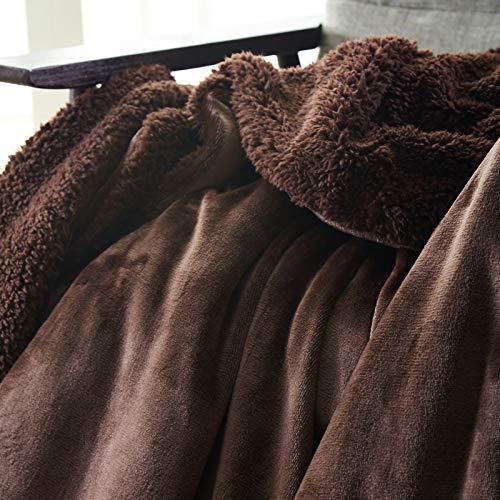 Mjdynasty Doppelschicht Decke Flanell Composite Decke beiläufige Decke, Kaiser Kaffee, 150 * 200