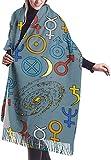 Bufanda de mantón, Trendy Mystic And Magic Esoteric Seamless Pattern Unisex Large Lightweight Soft Silky Cashmere Shawl Wrap Scarf