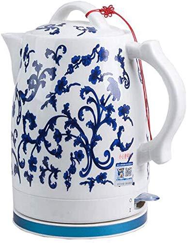Mnjin Haushaltselektrische Keramik Schnurlose Blaue und weiße Porzellankessel Teekanne 1.6L Krug kocht Wasser schnell für Tee Kaffeesuppe Haferflocken