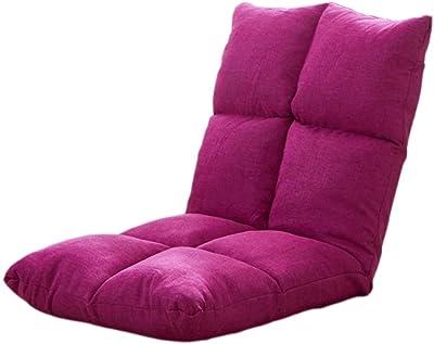 LMCLJJ 調節可能なあと振れ止めが付いているパッドを入れられた床の椅子快適な半折りたたみ式および瞑想セミナーのための多目的テレビを見たりゲームをすること優雅な設計 (Color : Rose red)