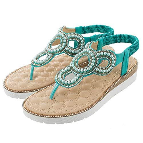 Bigtree Flach Sandalen Für Damen Sommer Bohemian Flip Flops Strand Plattform Thong Mini Wedge Riemchen Sandaletten Slip On mit Perle Grün 39 EU