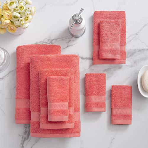 Welhome 100% Cotton 8 Piece tovagliolo (Corallo); 2 Teli da Bagno, 2 Asciugamani e 4 salviette, Lavabile in Lavatrice