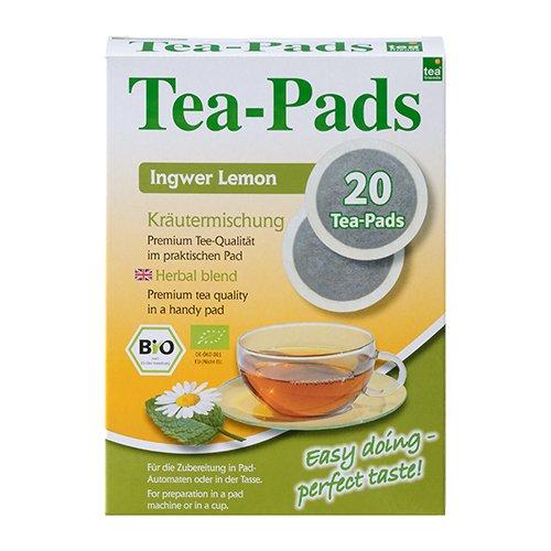 10 Packungen mit je 20 Tea Pads BIO Kräutertee Ingwer-Lemon für Pad- und Siebträgermaschinen und als Teebeutel