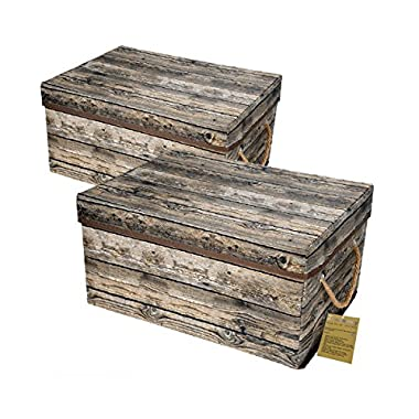 Livememory Storage Bins Stackable Storage Boxes with Lid and Handles for Office, Bedroom, Closet, Toys- Wood Grain (2 Pack) …