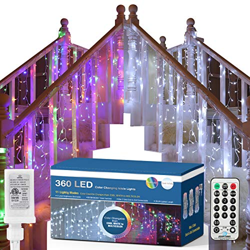 Brizled Color Changing Icicle Lights, 360 LED Christmas Icicle Lights, 29ft Outdoor Icicle Lights String with Remote 11 Modes Cool White & Multicolor Icicle Lights for Xmas Wedding Home Indoor Decor