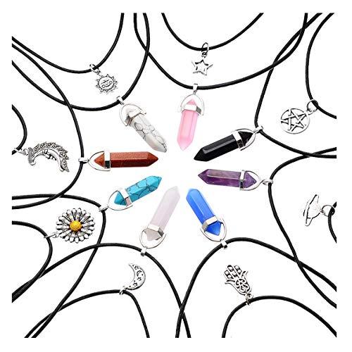 MJARTORIA Unisex Halskette Choker Freundschaftsketten Bunt CZ Kristall Hexagon Chakra Anhänger Kette 6er/5er/16er Damen Herren Geschenk Set (Weiss-16er)