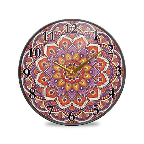 Rulyy Wanduhr, Acryl, indisches Tribal-Design, Mandala-Ständer, leise, nicht tickend, batteriebetrieben, rund, hängende Uhr, antiker Stil, für Wohnzimmer, Küche, Schlafzimmer, multi, 11.9x11.9in