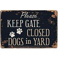 レトロなメタルティンサインプラークポスター壁の装飾アートみすぼらしいシックなギフトでゲートを閉じた犬を保管してください-20x30cm