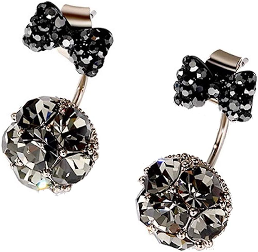 Fashion jewelry designer rhinestone double ball bow tie earrings