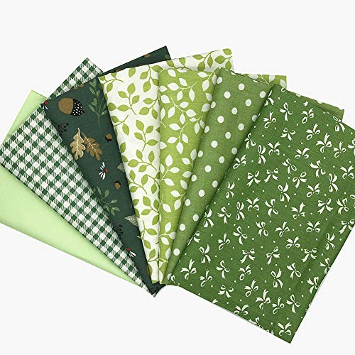 RUIZHEN Fat Quarters Fabric Bundles (7pcs,18 x 22 inch) Bowknot,Pinecone,Leaf Print Cotton Quilting Fabric for Sewing Green