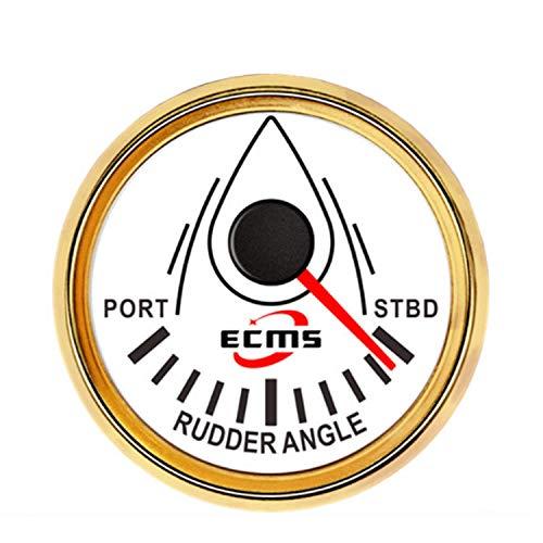 Yongenee Panel de instrumentos a prueba de agua Medidor Indicador del ángulo del timón Medidor 0-190ohm con el apareamiento Sensor 2' (52 mm) con luz de fondo Compatible with motores, barcos, automóvi