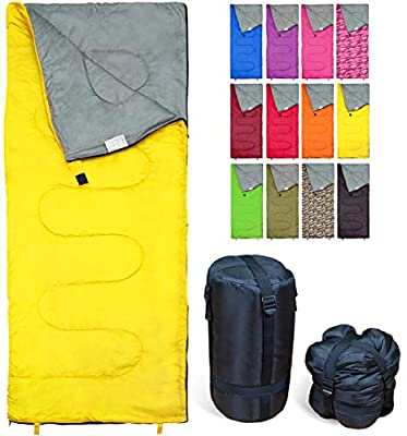 Lightweight Yellow Sleeping Bag by RevalCamp. Indoor & Outdoor use. Great for Kids, Teens & Adults. Ultra Light and Compact Bags are Perfect for Hiking, Backpacking, Camping & Travel.