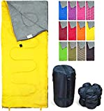 REVALCAMP Lightweight Yellow Sleeping Bag Indoor & Outdoor use. Great for Kids, Teens & Adults. Ultra Light and Compact Bags are Perfect for Hiking, Backpacking, Camping & Travel.