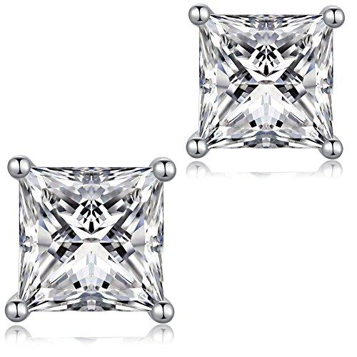 jiamiaoi Pendientes Pendientes de plata Pendientes de CZ diamantes chapados en oro blanco de 18 quilates Pendientes de cristal para mujeres, pendientes para hombres pendientes hipoalergénicos 4 mm