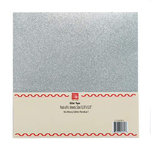 YZH Crafts Glitter Cardstock Paper, Glitter on Both Side. No-Shed Shimmer Glitter Paper,12 Inch by 12 Inch, 10 Pcs, 250GSM, (Silver)