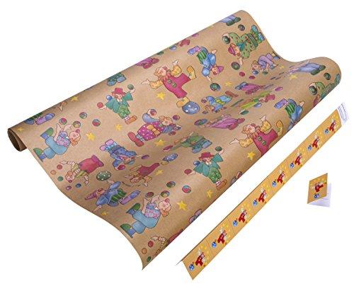 Geschenkpapier Kinder. Geschenkpapier für Mädchen und Jungen. 5 Meter reißfestes Premium Kraftpapier. Green Paper