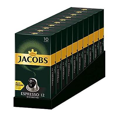 Jacobs Espresso Ristretto 12 - Nespresso®* Compatible Aluminium Coffee Pods - 10 Packs (100 Capsules)