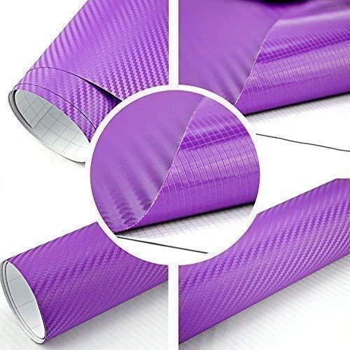 TipTopCarbon 8,55€/m² Autofolie 3D Carbon Lila 152cm Breit BLASENFREI mit Luftkanäle 3D Flex Selbstklebende Folie Auto folierung