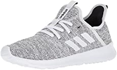 adidas Women's Cloudfoam Pure Running Shoe, white/white/black, 8 Medium US